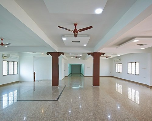 Full View of 250 seater AC marriage hall in Chennai with marble flooring