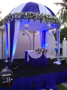 CENTRE STAGE DECORATED FOR WEDDING IN OUTDOOR LAWN