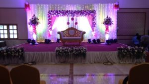 Bright light decoration of wedding hall in Chennai