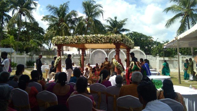The perfect outdoor wedding ceremony at Chennai Convention Centre
