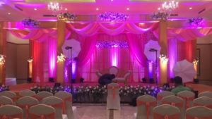 Beautiful lighting decoration of wedding hall
